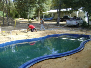Deck being formed for concrete base